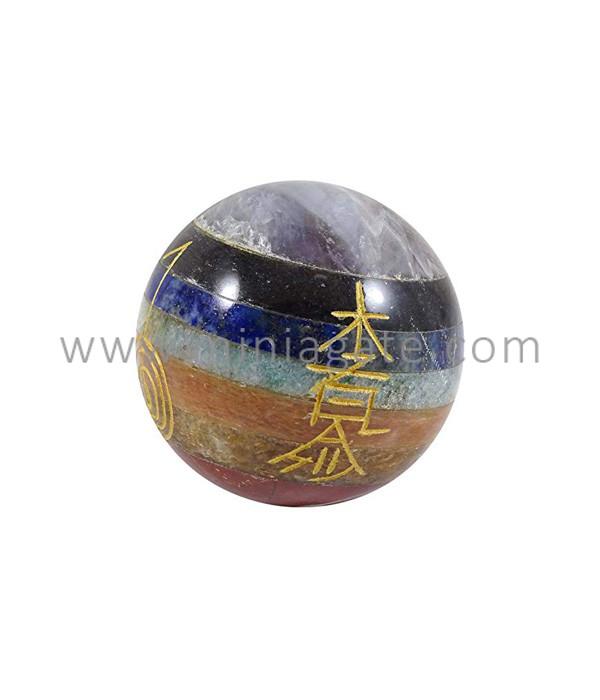 7 Chakra Engraved Reiki Healing Sphere Ball